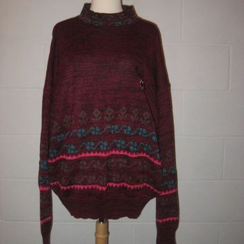 Vintage 1980s Burgundy Oversized Sweater / Long Slouchy Sweater / Men / Women / L / XL