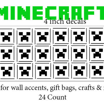 """Minecraft Inspired Creeper Decals 24 count of 4""""x4"""""""