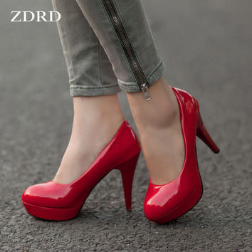New 2015 Women Sexy Red Bottom High Heels Women Fashion Shoes Ladies Stylish High Heel Wedding Party Pumps,Plus size:34-42