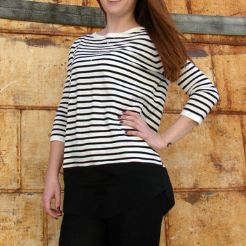 Ellison Ivory/Black Stripe Top
