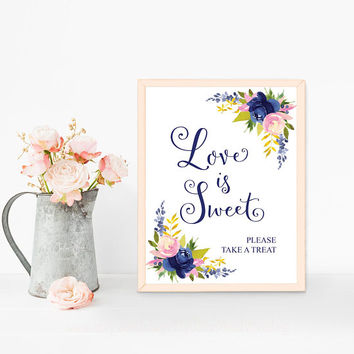 Cake table decorations, Love is sweet sign printable, Navy blue and pink wedding cake stand decor, Candy buffet signs, Wedding favors sign