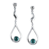 Long drop earrings: blue green tourmaline earrings, silver studs