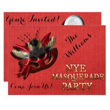 new years eve masquerade party invitation