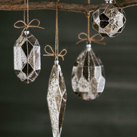 Eight Silvered Glass Christmas Ornaments