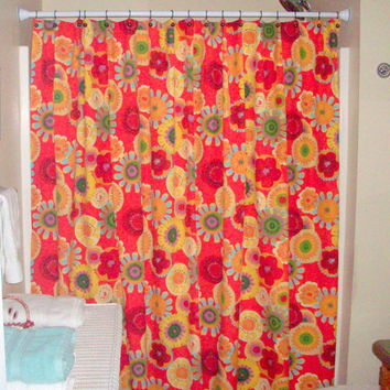 "Shower Curtain Extra wide & Reg. size also! Custom Bath -72"",84"",90"" -Magnolia Home Fashions Terrace Lipstick"