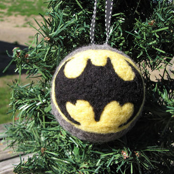 Needle Felted Batman Ornament - MADE TO ORDER