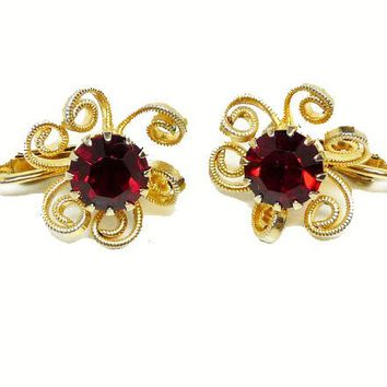 Vintage Flower Earrings - Red Rhinestone Clip on's with Scrolled Petals - designer signed Judy Lee