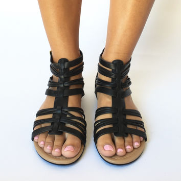 Palm Desert Strappy Sandals In Black