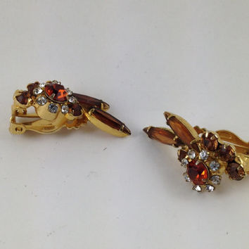 Beautiful Unique Vintage Amber colored Rhinestone Earrings