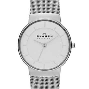 Skagen Klassik Womens Mesh Strap Watch - Stainless Steel - White Dial