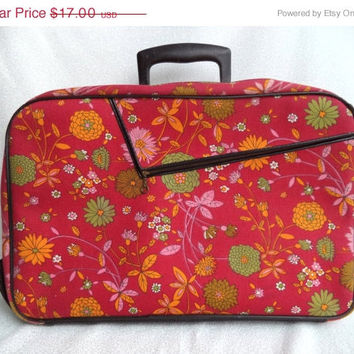 ON SALE Red flower suitcase/ vintage floral red with black small luggage/ mod suitcase/ 60's 70's overnight bag