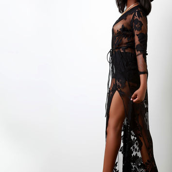 Floral Patterned Lace Plunging V Belted Dress