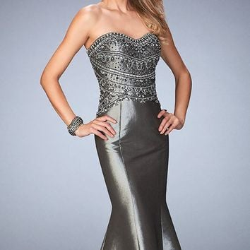 Metallic Taffeta Mermaid Gown by Gigi by La Femme