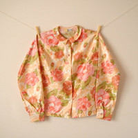 Vintage. 50's. Pastel Floral Button Up Blouse. Peter Pan Collar. Shirt. Long Sleeves. Retro. Classic. Feminine. Small S Medium M