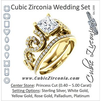 CZ Wedding Set, featuring The Carla engagement ring (Customizable Princess Cut Split-Band Curves)