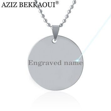 Engrave Logo Round Dog Tag Pendant Necklace Tel Tag ID Tags Stainless Steel Pendants Military Army ID Tag Necklace Custom Logo