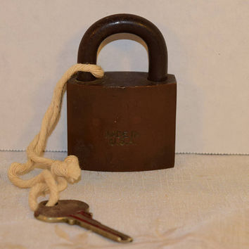 Sargent Padlock with Key Vintage Steampunk Push Pull Lock & Key Made in USA  Working Lock For Cash Boxes, Lockers, Luggage, Bicycle, Purse