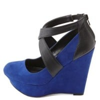 Snake-Textured Color Block Platform Wedges