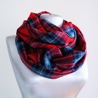 Handmade Plaid Infinity Scarf - Tweed - Red Blue Burgundy - Winter Autumn Scarf