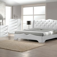 Best Master MadridBed 4 pc madrid white lacquer finish wood modern style queen bed set with silver accents and button tufting