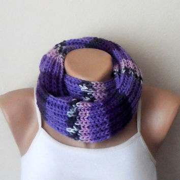 purple lilac white knit infinity scarf  multicolor circle scarf