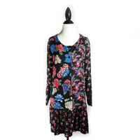 90's Floral Block Patchwork Baby Doll Grunge Mini Dress
