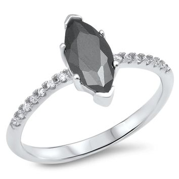 Sterling Silver Marquise Black Cubic Zirconia Engagement Ring