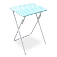 Folding Snack Tray Table In Teal Chevron