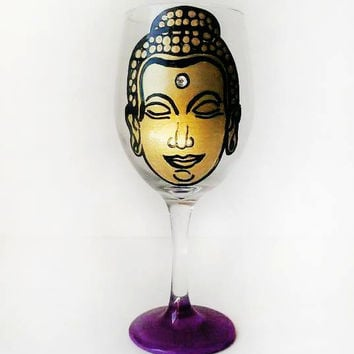 Buddha wine glass - gold - rhinestone - hand painted wine glass - 20 oz
