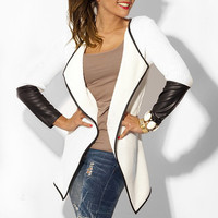 Lapel Long Sleeve Faux Leather Cardigan