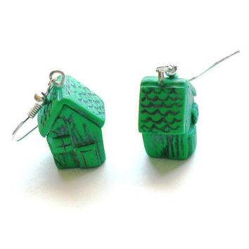 Mint green earrings polymer clay earrings tiny little 3D houses mint green distressed house shaped dangle earrings