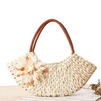 Pastoral Style Woven Beach Bag [6580682119]
