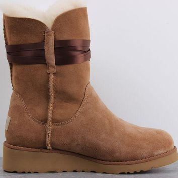 UGG 1018518 Wedges Tall Ribbon Hair Ball Women Men Fashion Casual Wool Winter Snow Boots Chestnut