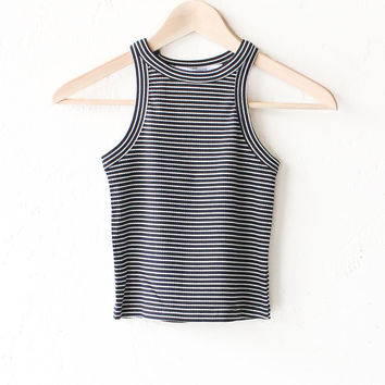 Striped Ribbed Crop Top - Black/White