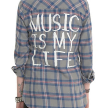 Music Is My Life Grey Plaid Top