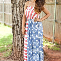 American Flag Sexy Tube Maxi Dress