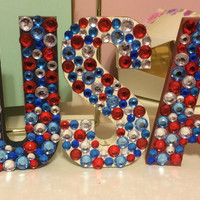 USA Wooden Block Letters with Rhinestonrs