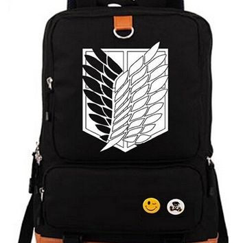 Cool Attack on Titan Luminous Anime  Cosplay Bookbag College Bags Backpack School Bag Boys and Girls Cartoon Laptop Satchel Students AT_90_11