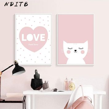 Cartoon Cat Canvas Poster Love Quote Wall Art Nursery Print Painting Nordic Kids Decoration Pictures Children Girl Bedroom Decor