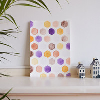 Deep feelings original watercolor painting purple orange home decor A/4 wall art hexagon geometry housewarming gift office decor pastel art