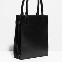 & Other Stories | Structured Leather Tote | Black