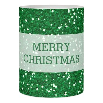 Merry Christmas Green Glitter Festive Flameless Candle