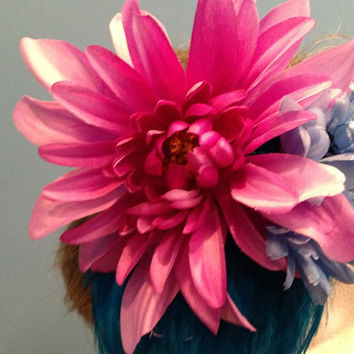 Festival Headband, Hippie Headband, Boho Headband, Braided Leather Headband, Festival Hairpiece, EDC, Purple and Blue Flower Headband