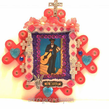 Day of the Dead Loteria Decoration-Dia de los Muertos El Musico Loteria Collage-Assemblage