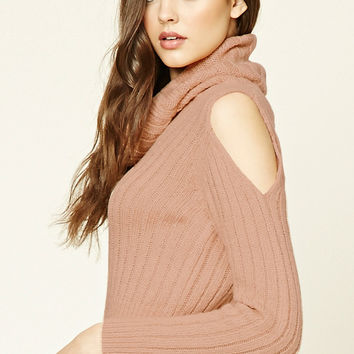 Open-Shoulder Cowl Neck Sweater