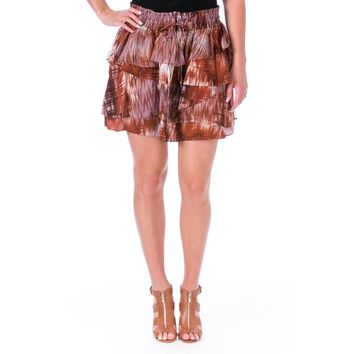 Elizabeth and James Womens Hillary Silk Printed Tiered Skirt