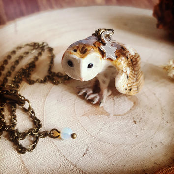 Barn Owl Necklace, Porcelain Necklace, Owl Porcelain Jewellery, Harry Potter, Art Jewellery, Nature Lover, Handmade in England, Gift