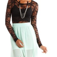 Long-Sleeve Lace Bodysuit: Charlotte Russe