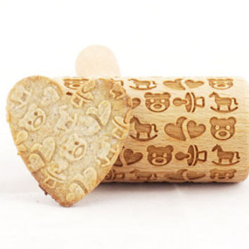 Baby rolling pin - engraved, embossed roller for cookies