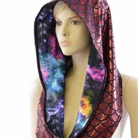 Reversible Red Dragon Festival Hood with Galaxy Lining & Black Mystique Spikes *NEW STYLE* Festival Rave Reversible Hood